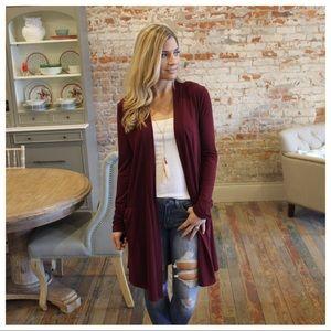 Burgundy long cardigan with pockets